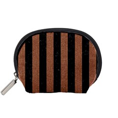 Stripes1 Black Marble & Brown Denim Accessory Pouches (small)  by trendistuff