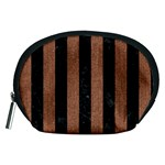 STRIPES1 BLACK MARBLE & BROWN DENIM Accessory Pouches (Medium)  Front