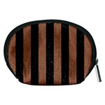 STRIPES1 BLACK MARBLE & BROWN DENIM Accessory Pouches (Medium)  Back