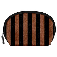 Stripes1 Black Marble & Brown Denim Accessory Pouches (large)  by trendistuff