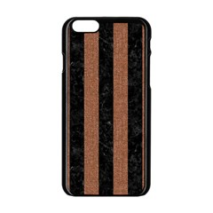 Stripes1 Black Marble & Brown Denim Apple Iphone 6/6s Black Enamel Case by trendistuff