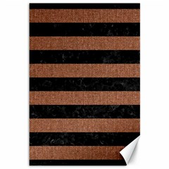 Stripes2 Black Marble & Brown Denim Canvas 12  X 18   by trendistuff