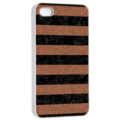 Stripes2 Black Marble & Brown Denim Apple Iphone 4/4s Seamless Case (white) by trendistuff