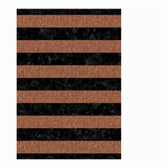 Stripes2 Black Marble & Brown Denim Small Garden Flag (two Sides) by trendistuff