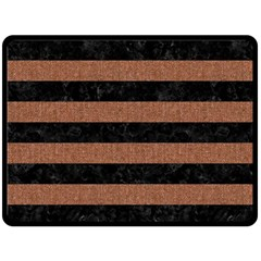 Stripes2 Black Marble & Brown Denim Double Sided Fleece Blanket (large)  by trendistuff