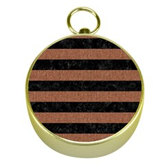 Stripes2 Black Marble & Brown Denim Gold Compasses by trendistuff