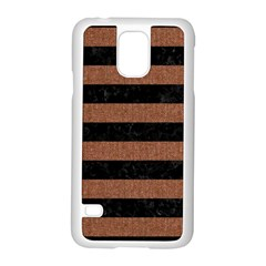 Stripes2 Black Marble & Brown Denim Samsung Galaxy S5 Case (white) by trendistuff