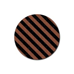 Stripes3 Black Marble & Brown Denim Rubber Coaster (round)  by trendistuff