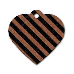 Stripes3 Black Marble & Brown Denim Dog Tag Heart (one Side) by trendistuff