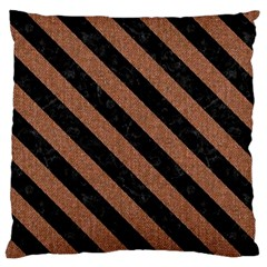 Stripes3 Black Marble & Brown Denim Large Cushion Case (two Sides) by trendistuff