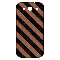 Stripes3 Black Marble & Brown Denim Samsung Galaxy S3 S Iii Classic Hardshell Back Case by trendistuff