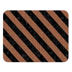 Stripes3 Black Marble & Brown Denim Double Sided Flano Blanket (large)  by trendistuff