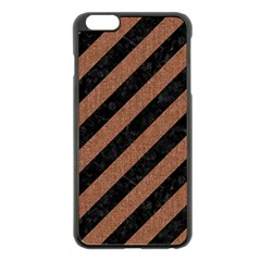Stripes3 Black Marble & Brown Denim (r) Apple Iphone 6 Plus/6s Plus Black Enamel Case by trendistuff