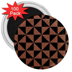 Triangle1 Black Marble & Brown Denim 3  Magnets (100 Pack) by trendistuff