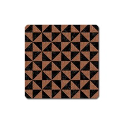 Triangle1 Black Marble & Brown Denim Square Magnet by trendistuff