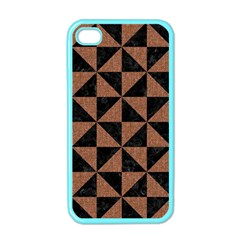 Triangle1 Black Marble & Brown Denim Apple Iphone 4 Case (color) by trendistuff