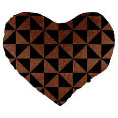 Triangle1 Black Marble & Brown Denim Large 19  Premium Heart Shape Cushions by trendistuff