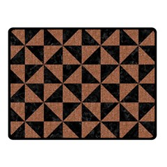 Triangle1 Black Marble & Brown Denim Double Sided Fleece Blanket (small)  by trendistuff