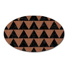 Triangle2 Black Marble & Brown Denim Oval Magnet by trendistuff