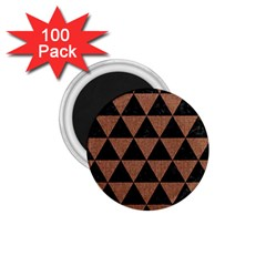 Triangle3 Black Marble & Brown Denim 1 75  Magnets (100 Pack)  by trendistuff