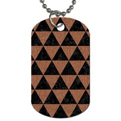 Triangle3 Black Marble & Brown Denim Dog Tag (one Side) by trendistuff