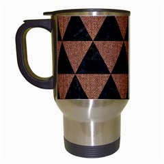 Triangle3 Black Marble & Brown Denim Travel Mugs (white) by trendistuff