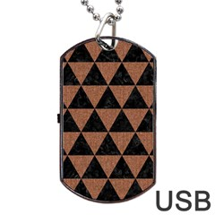 Triangle3 Black Marble & Brown Denim Dog Tag Usb Flash (one Side) by trendistuff