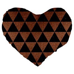 Triangle3 Black Marble & Brown Denim Large 19  Premium Flano Heart Shape Cushions by trendistuff