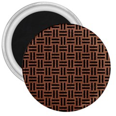 Woven1 Black Marble & Brown Denim 3  Magnets by trendistuff