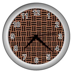 Woven1 Black Marble & Brown Denim Wall Clocks (silver)  by trendistuff
