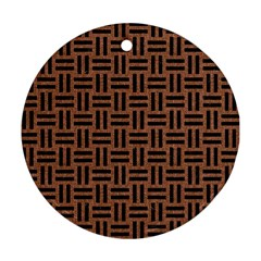 Woven1 Black Marble & Brown Denim Round Ornament (two Sides) by trendistuff