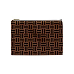 Woven1 Black Marble & Brown Denim Cosmetic Bag (medium)  by trendistuff
