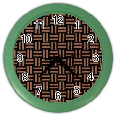 Woven1 Black Marble & Brown Denim (r) Color Wall Clocks by trendistuff
