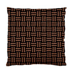 Woven1 Black Marble & Brown Denim (r) Standard Cushion Case (two Sides) by trendistuff