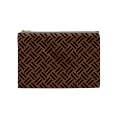 Woven2 Black Marble & Brown Denim Cosmetic Bag (medium)  by trendistuff