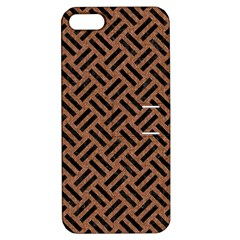 Woven2 Black Marble & Brown Denim Apple Iphone 5 Hardshell Case With Stand by trendistuff