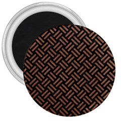 Woven2 Black Marble & Brown Denim (r) 3  Magnets