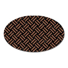 Woven2 Black Marble & Brown Denim (r) Oval Magnet by trendistuff