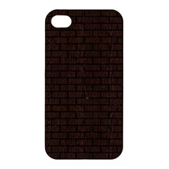 Brick1 Black Marble & Dark Brown Wood Apple Iphone 4/4s Hardshell Case by trendistuff