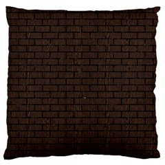 Brick1 Black Marble & Dark Brown Wood Large Flano Cushion Case (one Side) by trendistuff