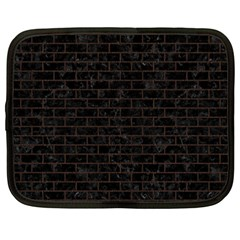 Brick1 Black Marble & Dark Brown Wood (r) Netbook Case (large) by trendistuff