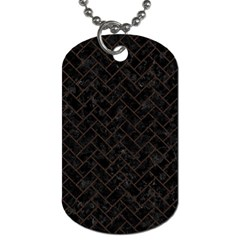 Brick2 Black Marble & Dark Brown Wood (r) Dog Tag (one Side) by trendistuff
