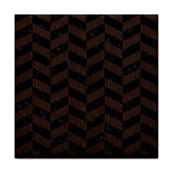 Chevron1 Black Marble & Dark Brown Wood Face Towel by trendistuff
