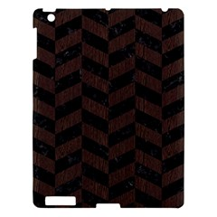Chevron1 Black Marble & Dark Brown Wood Apple Ipad 3/4 Hardshell Case by trendistuff