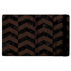 Chevron2 Black Marble & Dark Brown Wood Apple Ipad Pro 12 9   Flip Case by trendistuff
