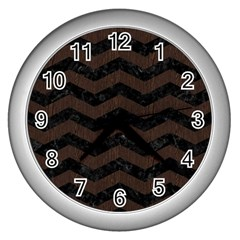 Chevron3 Black Marble & Dark Brown Wood Wall Clocks (silver)  by trendistuff