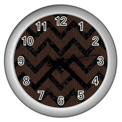 Chevron9 Black Marble & Dark Brown Wood Wall Clocks (silver)  by trendistuff