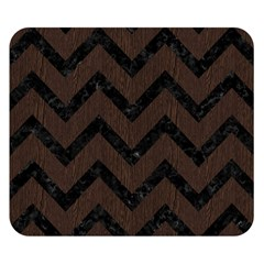 Chevron9 Black Marble & Dark Brown Wood Double Sided Flano Blanket (small)  by trendistuff