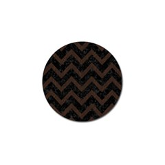 Chevron9 Black Marble & Dark Brown Wood (r) Golf Ball Marker (4 Pack) by trendistuff