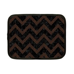Chevron9 Black Marble & Dark Brown Wood (r) Netbook Case (small)  by trendistuff